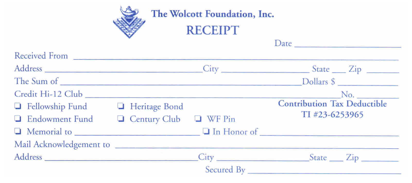 High twelve international inc wolcott donation recognition donation receipt thecheapjerseys Choice Image